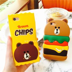 Fashion-cartoon-food-chips-Brown-Bear-Rubber-soft-Case-Cover-for-iPhone6-6S-Plus
