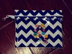 Navy chevron  medium zippered pouch with vinyl front and