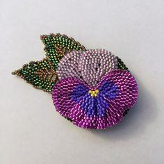 Hand Beaded Pansy Flower Brooch in Purples by BeadifulByJill