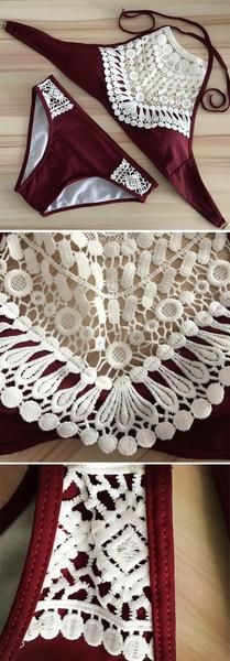 Lace Cropped Tank Bathing Suit