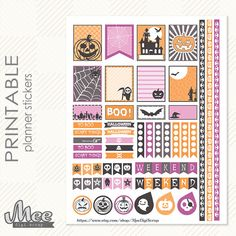 Cute Halloween Planner Stickersprintable EC Life by MeeDigiScrap School Planner, Life Planner, Happy Planner, Journal Stickers, Printable Planner Stickers, Halloween Stickers, Cute Halloween, Bullet Journal Book, Planner Pages