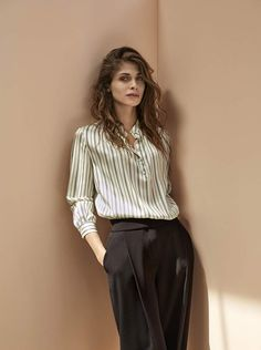 Elisa Sednaoui wearing the Giorgio Armani New Normal Fall/Winter 2016-2017 collection