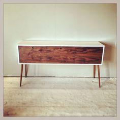 Bespoke retro walnut and gloss white sideboard. Love the danish style !