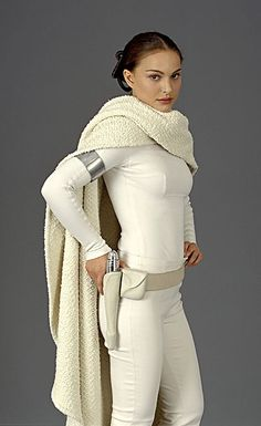 princess amidala - White spandex-y stuff, some duct tape jewelry, and a huge scarf made from st vinny's sweater. Sleek hair in a bun.