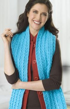 "Baby Cable Scarf - Choose your favorite color to crochet this warm scarf. Use front post stitches to form this easy mini cable pattern. RHSS: 1 Ball Turqua. Crochet Hooks: I/9/5.5mm & L/11/8mm     Scarf measures 6"" x 60"". free pdf"