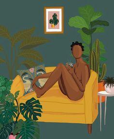 Safe Space by KolorMeKoby on Etsy Black Girl Art, Black Women Art, Art Girl, Illustrations, Illustration Art, Black Artwork, Afro Art, African American Art, Dope Art