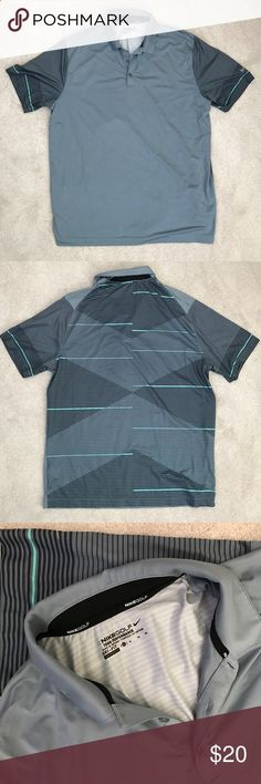 Golf Shirts - Nike Mens Golf Shirt Tiger Woods brand. Grey with printed back. Ready for the golf course! Nike Shirts Polos