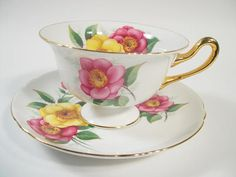 Vintage  SHELLEY Begonia Tea Cup And Saucer  Shelley footed