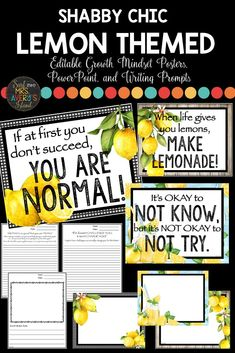 Create a GROWTH MINDSET this year and SQUEEZE the opportunities to build your students' self-esteem and self-confidence as you go back to school this year. Click here to discover a set of GORGEOUS lemon themed posters perfect for your bulletin boards, as well as a PowerPoint, and Growth Mindset writing prompts! Watch your students transform their fixed mindset to a growth mindset as they face challenges in their lives!  #growthmindset #lemonclassroomdecor #classroomdecor #writingprompts