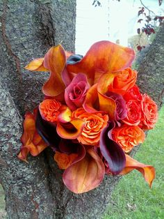 Mango and dark purple callas with orange roses. Bridesmaid's bouquet.