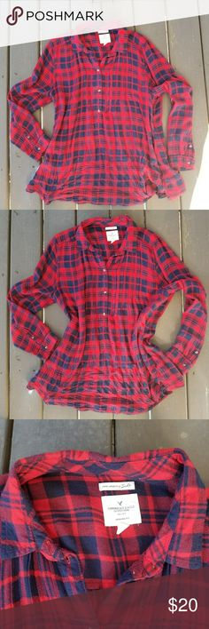 American Eagle Flannel Blouse XL American Eagle 'Ahh-mazingly Soft Jegging Fit' red and navy top in six XL. Fits true to an xl can possibly fit 2x. American Eagle Outfitters Tops