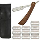 Razor Shavette Kit Razor Stainless Steel with 10 spare blades – Rosewood Handle Knives, Blade, Handle, Stainless Steel, Kit, Straight Razor, Shaving, Nursing Care, Knifes