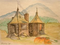 Hagrid's Hut - Yep! We're both Harry Potter Fans and I had her do a few paintings of our favorite films. Can't you just imagine the warmth inside from the fire burning in the hearth? A cup of hot tea? A baby dragon? (watercolor)