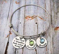 Charm Bracelet - Wire Bangle - Mother Bracelet - Personalized - Adjustable - Birthstone - Your First Breath Took Mine Away - Grandma - Nana