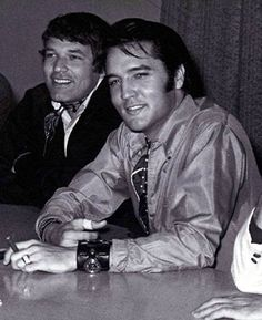 Steve Binder, Director and Elvis Presley, Performer, at the press conference for the 1968 NBC-TV Special