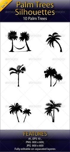 Vectors - Palm Tree Silhouettes | GraphicRiver