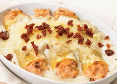 Cannelloni au crémeux de saumon et de tomates séchées Seafood Recipes, Pasta Recipes, Fish And Seafood, No Cook Meals, Cooking Time, Italian Recipes, Macaroni And Cheese, Favorite Recipes, Healthy Recipes