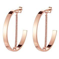 Women's Jenny Bird Mia Hoop Earrings ($60) ❤ liked on Polyvore featuring jewelry, earrings, rose gold, chains jewelry, pink gold earrings, chain hoop earrings, red gold jewelry and jenny bird jewelry