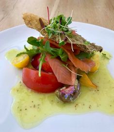 Valentine's dinner at Tokara Deli - smoked rainbow trout with trout crackling, tomato, nectarine, caviar & mustard dressing. Mustard Dressing, Rainbow Trout, Caprese Salad, Caviar, Deli, Dinner, Breakfast, Food, Dining