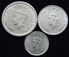1947-B SET OF 3 COINS 1 1/2 1/4 RUPEE NICKEL COINS INDIA BRITISH RAJ  M477
