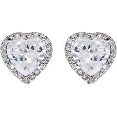 Jou Jou Sterling Silver Cubic Zirconia Heart Stud Earrings , Rhodium ($51) ❤ liked on Polyvore featuring jewelry, earrings, accessories, brincos, joias, rhodium, zirconia earrings, sterling silver jewelry, stud earring set and cz stud earrings