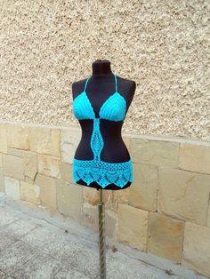 Crochet Beach Top, Turquoise Summer Beachwear, Summer Crochet Top, Crochet Turquoise suit, - Crochet creation by etelina