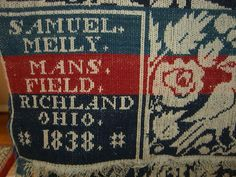 jacquard coverlets antique | 1838 Antique Jacquard coverlet signed by Samuel Meily, Mansfield, Ohio