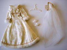 1971 Mod Barbie Bridal Brocade Outfit #3417-Minty & Almost Complete | #1816667679 Belle Wedding Dresses, Unusual Wedding Dresses, Barbie Bridal, Barbie World, Barbie Clothes, Beautiful Dresses, Tulle, Flower Girl Dresses, Bride
