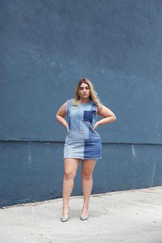 Star Model Nadia Aboulhosn - Plus Size Denim Dress
