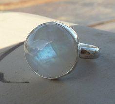 Round Rainbow Moonstone Ring June birthstone ring by anakim, $108.00