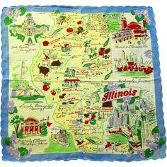 "State of Illinois Handkerchief, 13"" Square"