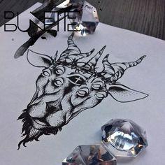 Dotwork goat dark gothic tattoo bunette