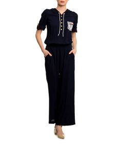 Navy Blue Button-Up Half-Sleeve Jumpsuit
