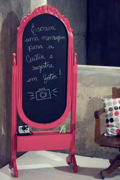 Creative ideas-guests write the message on board then pose for polaroid pic with it for guestbook!