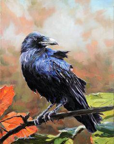 Raven Fall Oil Painting by Jon Bradham, Oil, 18 x 14 x .25
