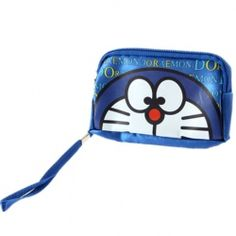 Cute Doraemon Pattern Design Soft Canvas Case Bag with Strap and 2-Zipper for MP3 MP4 Player Digital Camera - Blue