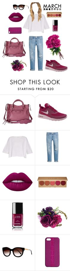 """march madness"" by outfitealtredipendenze ❤ liked on Polyvore featuring Balenciaga, NIKE, Helmut Lang, White House Black Market, Lime Crime, Stila, Chanel, Thierry Lasry and Maison Takuya"