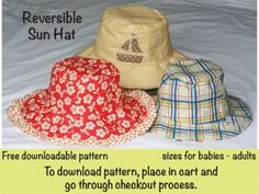 ad981c66bf066 Free sun hat pattern for kids and adults! Hat Patterns To Sew, Sewing  Patterns