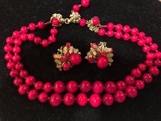 Designer Signed Miriam Haskell Red Ruby Filigree Deni Set Double Necklace Earrin