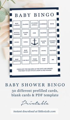 Boy BabyShower Games Nautical Theme Baby Shower Bingo Cards Printable Games for Large Groups DIY by LittleSizzle. Let not only the mom-to-be enjoy unpacking gifts! Play Bingo with these nautical Baby Bingo cards. They are the perfect addition to your boy babyshower. The 30 different prefilled bingo cards are the easiest option for everyone. Simply print, trim and you're ready to go! #boybabyshowergames #nauticalthemebabyshower #babybingo #navyandwhite #summerbabyshowerideas #babyshowergamesboy Baby Bingo, Baby Shower Bingo, Baby Shower Printables, Nautical Baby, Nautical Theme, Navy Baby Showers, Wishes For Baby Cards, The Calling, Party Ideas