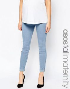 ASOS Maternity TALL Rivington Denim Jeggings in Candy Light Blue with Turn Ups – Light wash