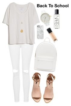 """Untitled #1545"" by katerina-rampota ❤ liked on Polyvore featuring Topshop, Fine Collection, H&M, PB 0110, Uncommon, Nixon, MAC Cosmetics and NARS Cosmetics"
