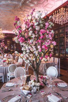 Fairytale wedding centrepieces, pink wedding flowers and decor, manzanita tree centrepiece, cherry blossom centrepiece, chandelier, elegant wedding ideas A PINK STORYBOOK WEDDING IN TORONTO www.elegantwedding.ca