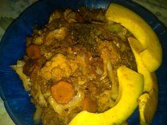 Spicy stir fried minced beef, broccoli, cauliflower n cabbage
