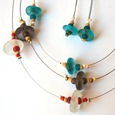 necklaces made with recycled glass