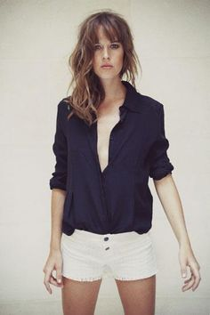 black silk shirt + white denim cut-offs