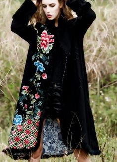Chinese style 2016 women autumn winter ethnic vintage flower embroidery faux rabbit fur collar long asymmetry casual linen coat