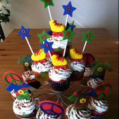 70's themed disco birthday party cupcakes