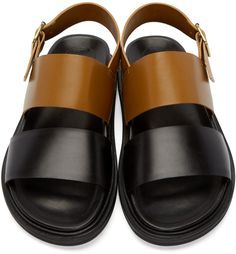 Marni - Brown & Black Leather Sandals
