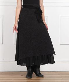 Look at this Black Tie-Waist Maxi Skirt on #zulily today!